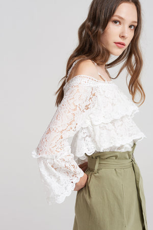 Eden Tiered Full Lace Blouse-White