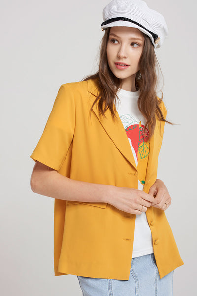 NickiShort Sleeve Jacket-Mustard