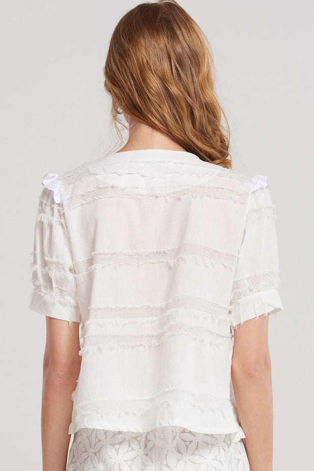 Kimberley Raw Edge Blouse-Ivory