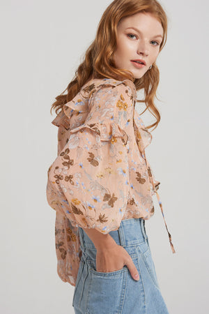 Sydnia Floral Print Ruffle Blouse-Pink