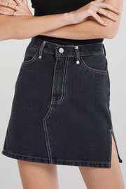 Jessica Side Slit Denim Skirt-Black