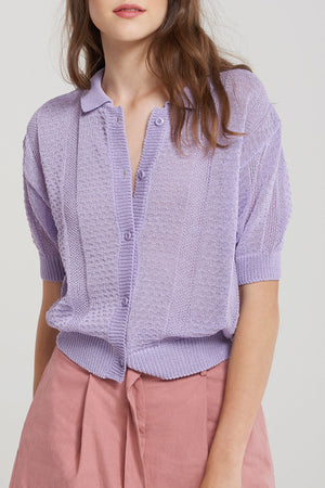 Sansa Collared Knit Cardigan-Purple
