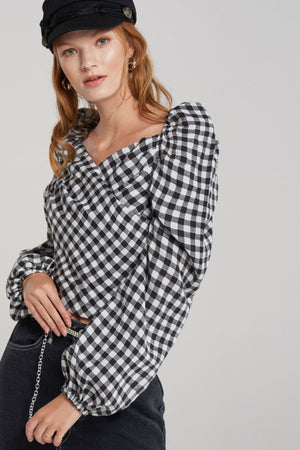 Bailie Gingham Check Puff Blouse-Black