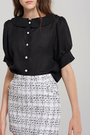 Chichi Ripple Collar Grid Blouse-Black