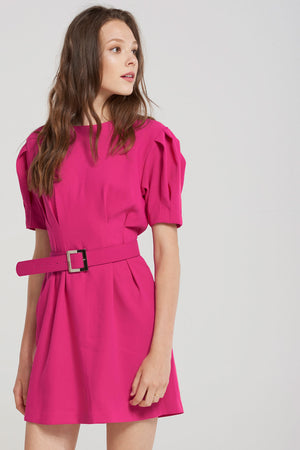 Olivia Pleat Detail Belt Set Dress-Pink