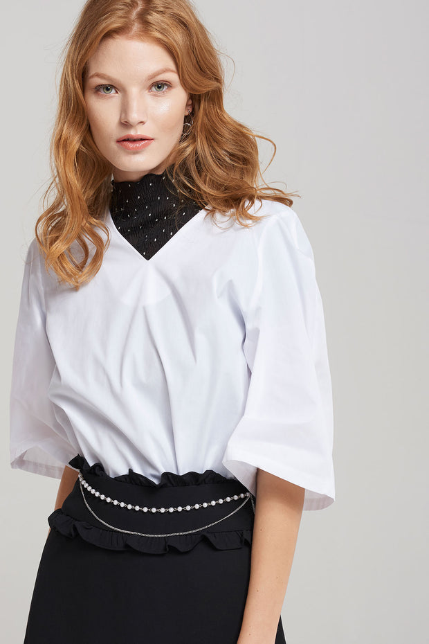 Audrina Wide Sleeve V Neck Blouse-Ivory