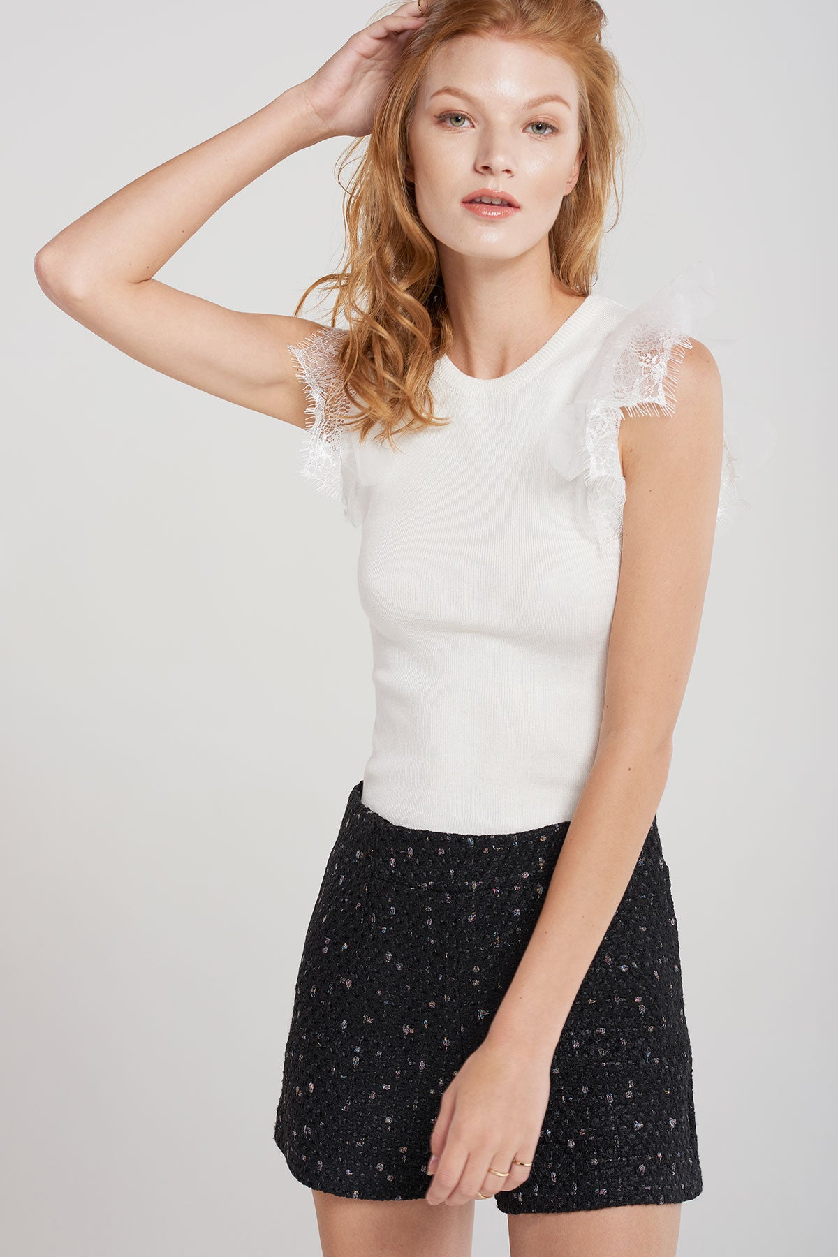 Whitney Tulle Lace Sleeve Knit Top-Ivory
