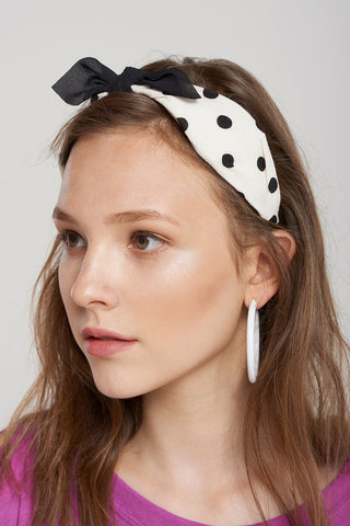 Plain Dotted Ribbon Hairband-White
