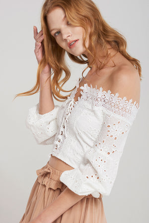 Peggy Off Shoulder Corset Top-White