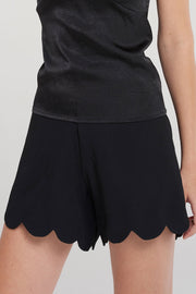 Melanie Bold Scalloped Shorts-Black