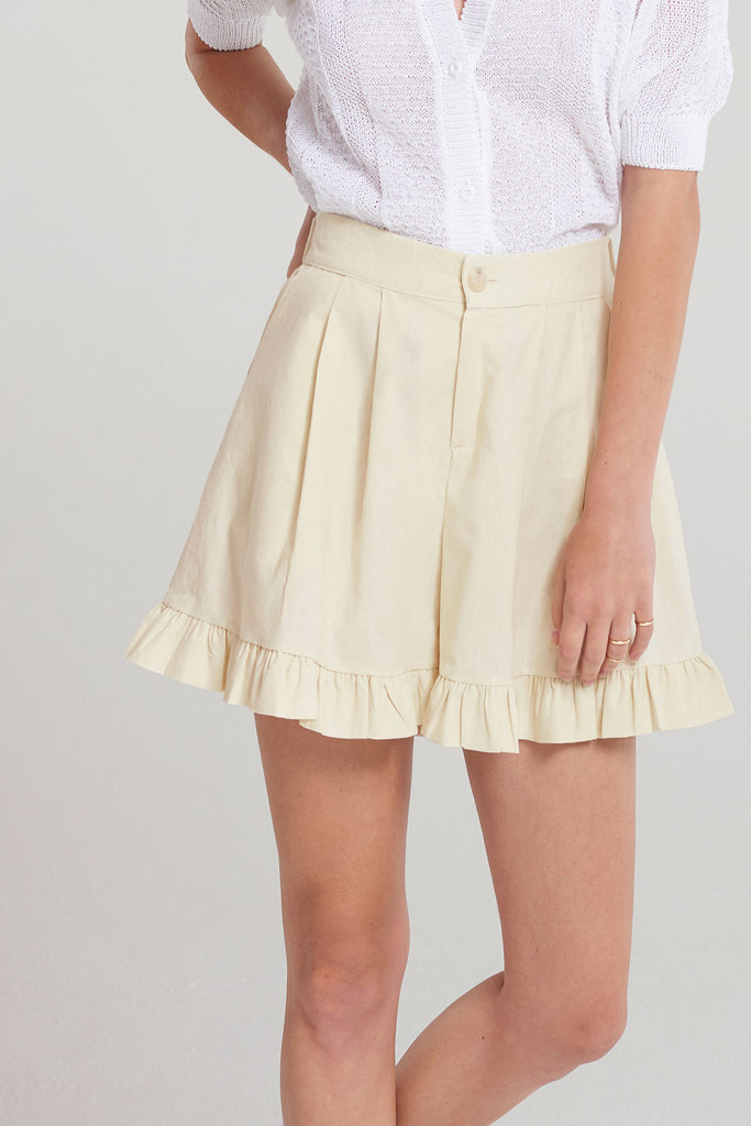 Lily Frilled Cotton Shorts-Beige