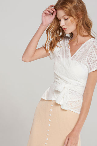 Andrea Lace Wrap Blouse-White
