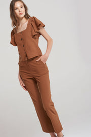 Jane Brown Linen Straight Pants