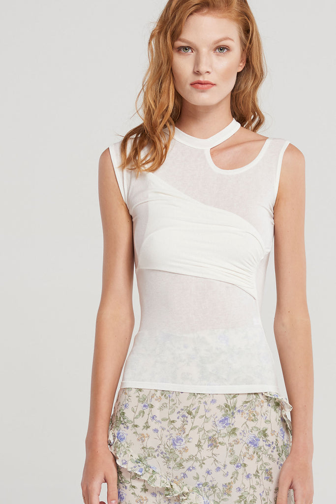Alina Cut Out Sleeveless Top-Ivory