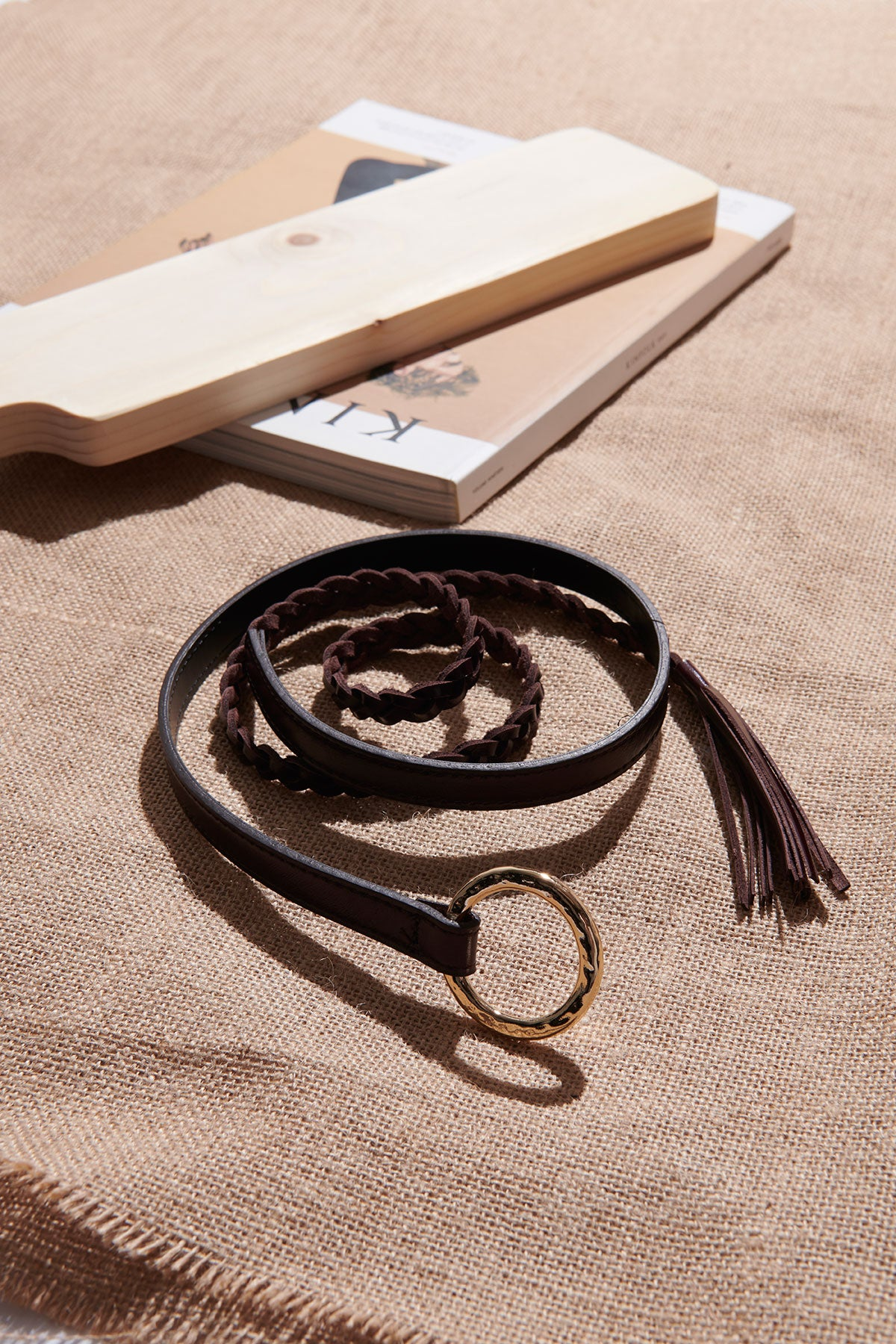O Ring Leather Thin Belt-Brown