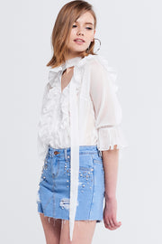 Laura Star Pearl Denim Skort