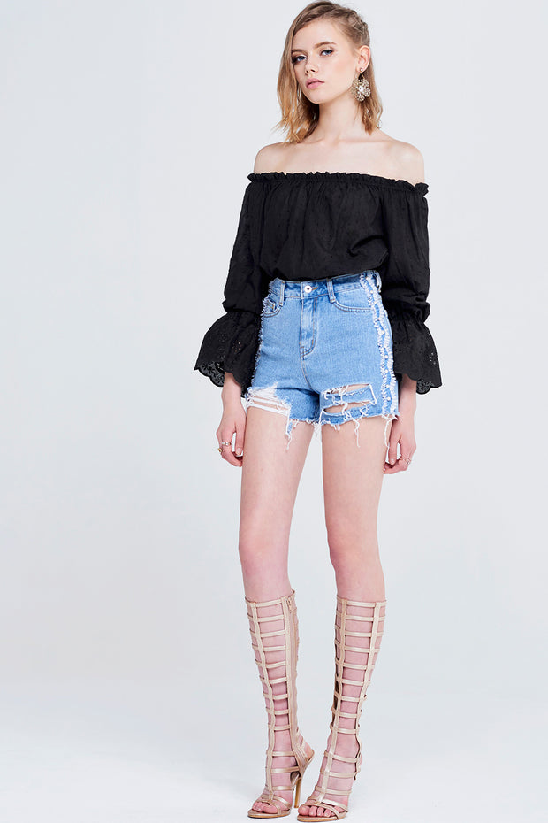 Violy Side Pearl Line Denim Shorts