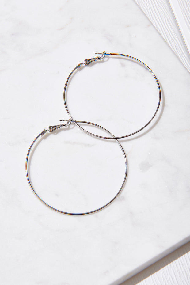 Thin Ring Earrings-Silver