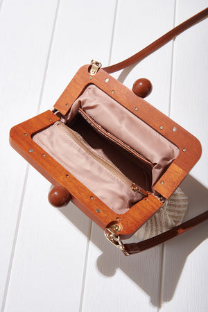 Mini Wood Pouch Bag