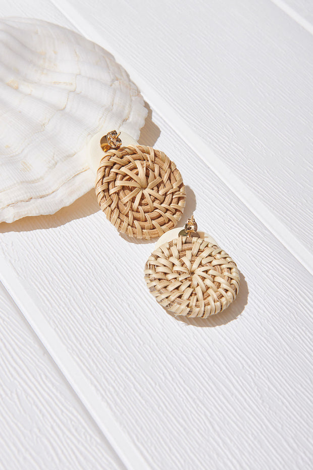 Straw Marble Earrings-Ivory
