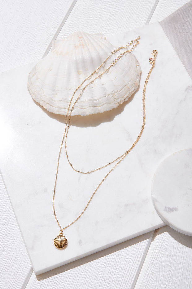 Scallop Layered Necklace-Gold