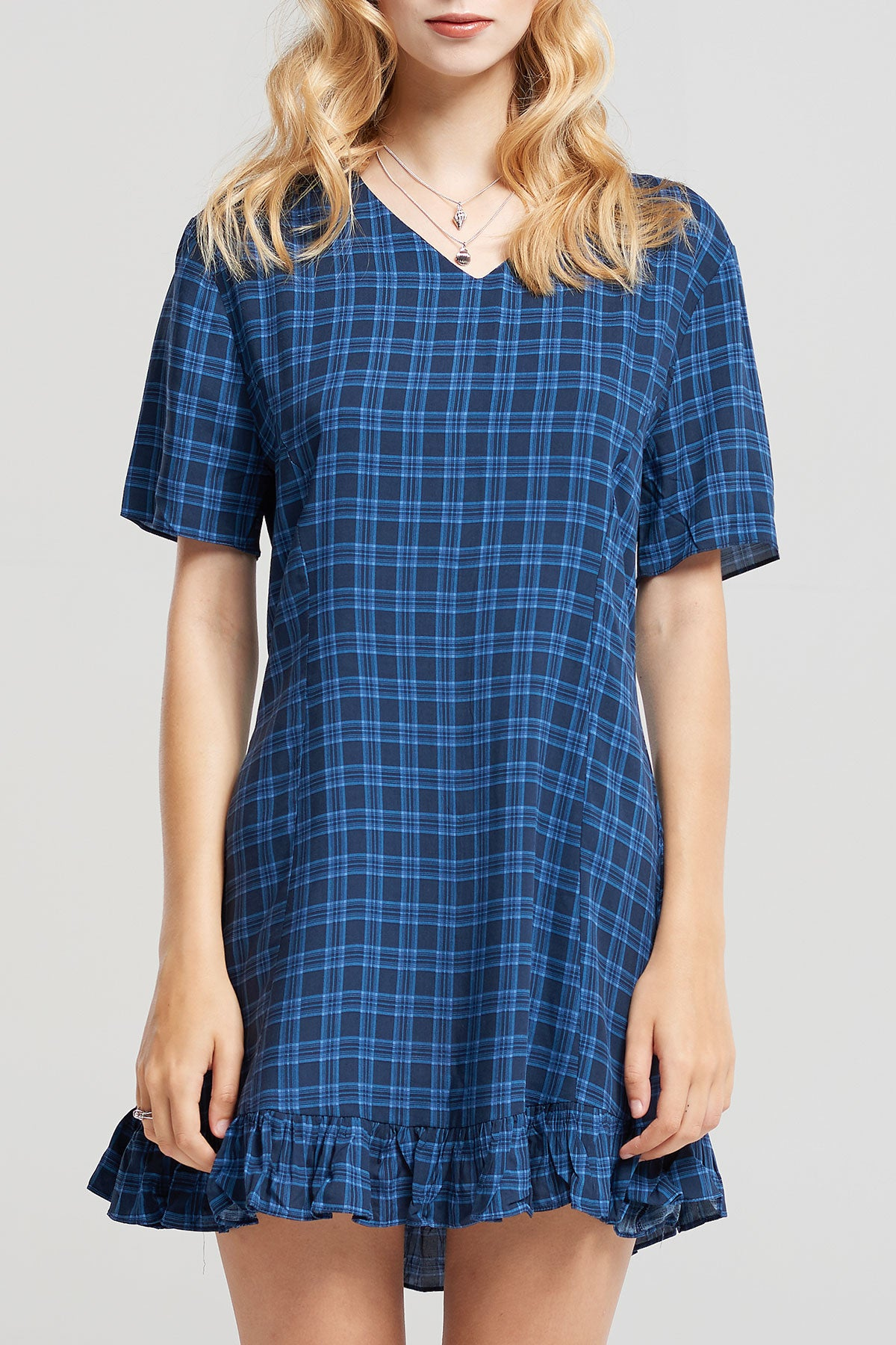 Helen V Neck Check Dress