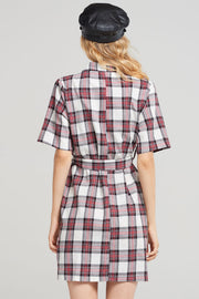 Eliza Plaid Double -breasted Belt Dress-Black