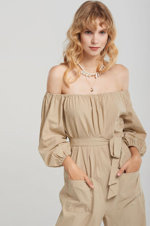 Liona Upper Shirring Jumpsuit-Beige