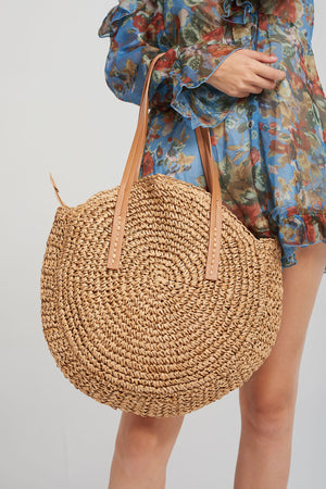 Round Weaved Shoulder Bag-Beige