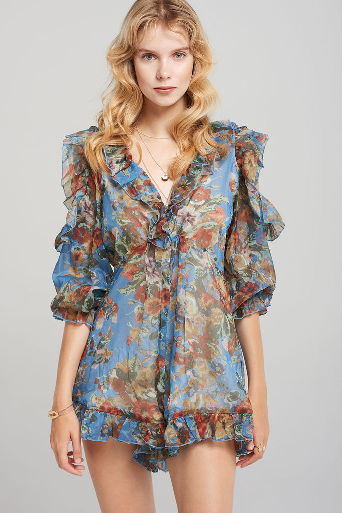 Evie Floral Frill Romper-2 Colors