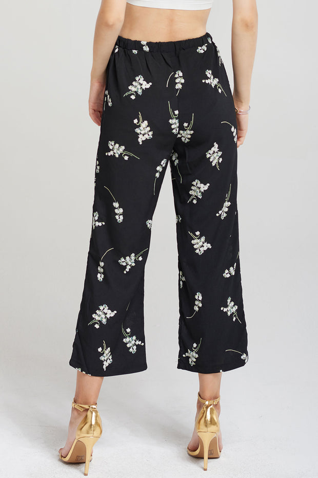 Megan Floral Pants-Black