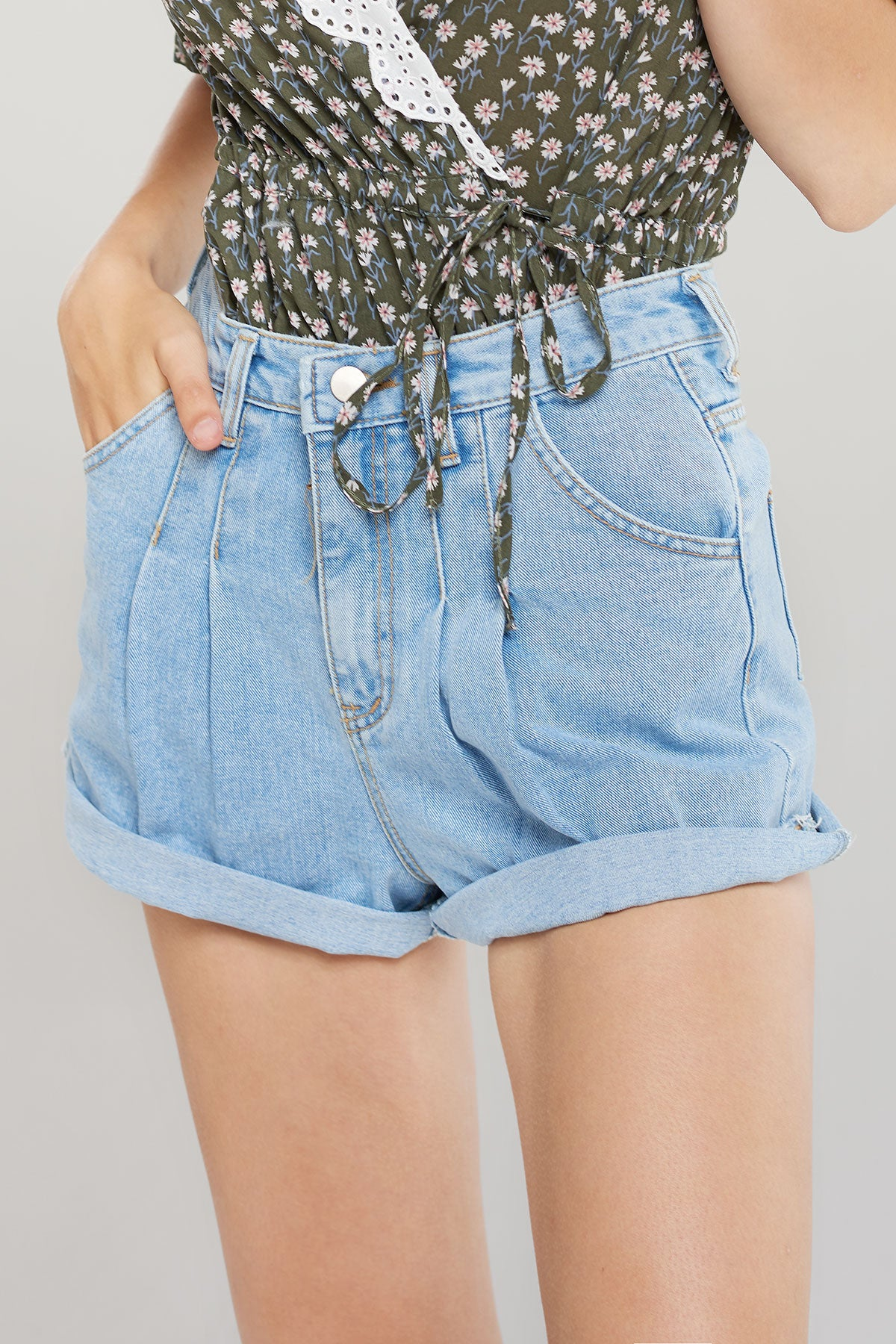 Hannah Pleated Denim Shorts