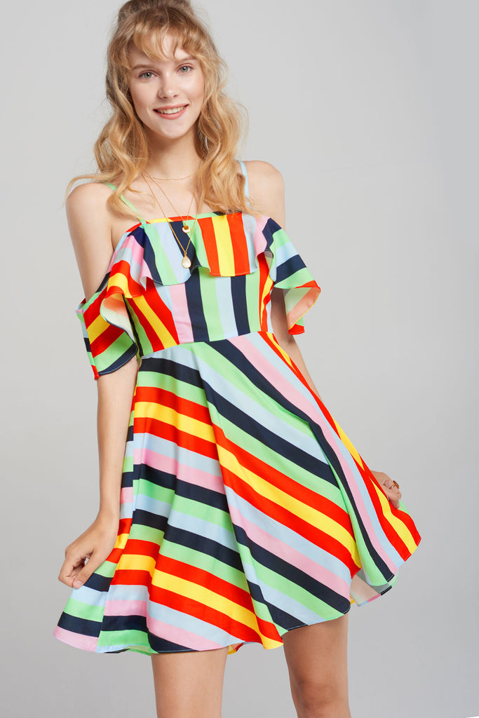 Holly Rainbow Stripe Dress-Red