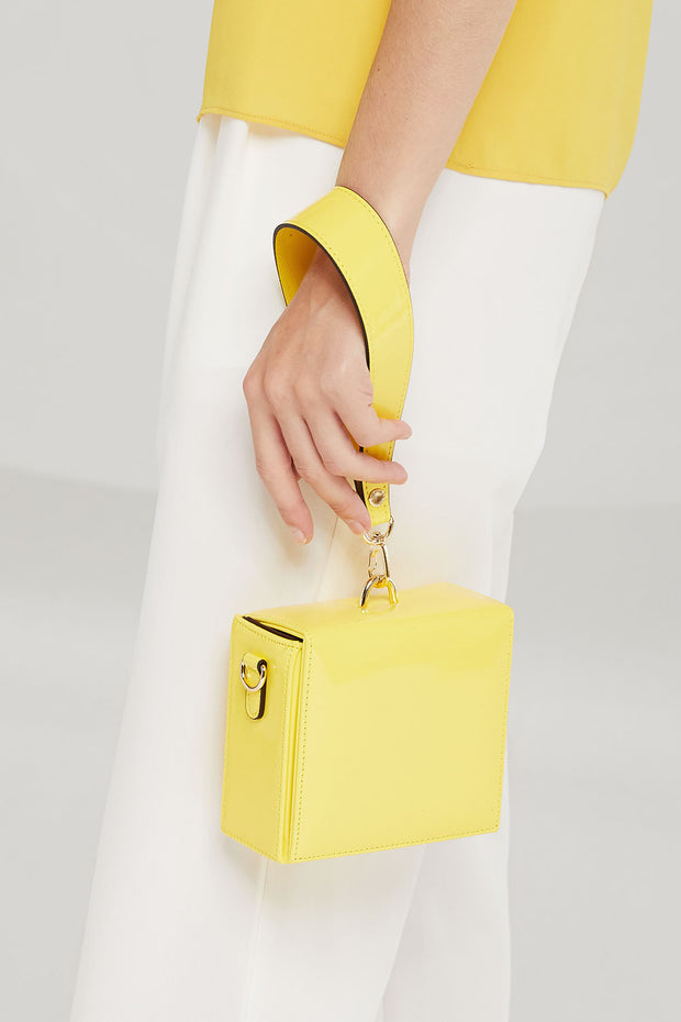 Enamel Square Tote Bag in Yellow