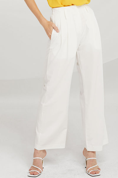 Dani Pintuck Wide-Leg Pants