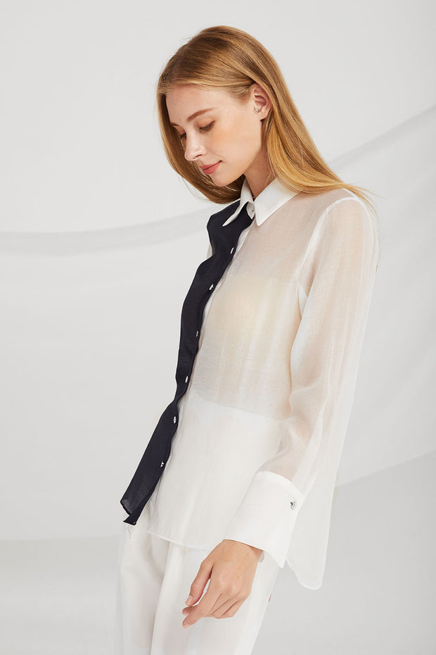 Serenity Color Block Sheer Blouse