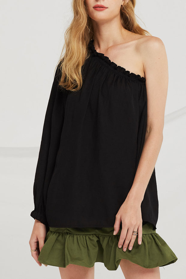 Mya Smocked One Shoulder Blouse