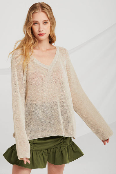 Sara Oversized Sheer Knit Pullover