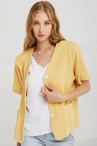 Reagan Textured Collarless Blazer