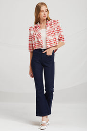 storets.com Kinsley Slash Cut Plaid Blazer