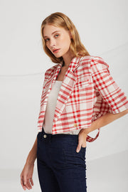 Kinsley Slash Cut Plaid Blazer
