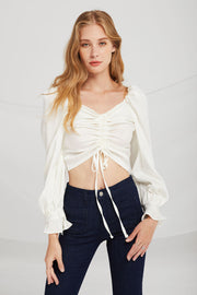 Bella Ruched Drawstring Blouse
