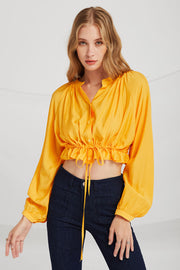 Kiara Crop Shirt w/Drawstring Hem