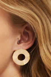 storets.com Wave Circle Earrings w/Gold Trim