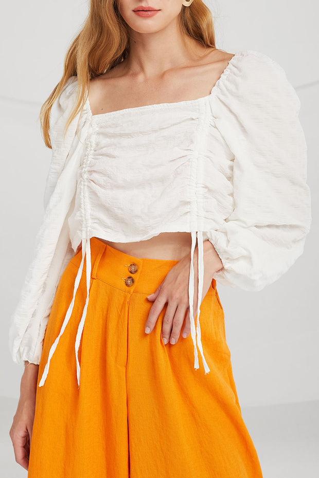 Ruth Ruched Drawstring Top