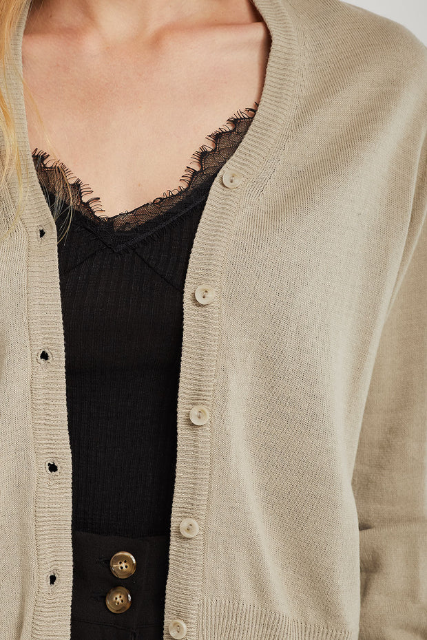 Ellie Rib Trim Knit Cardigan