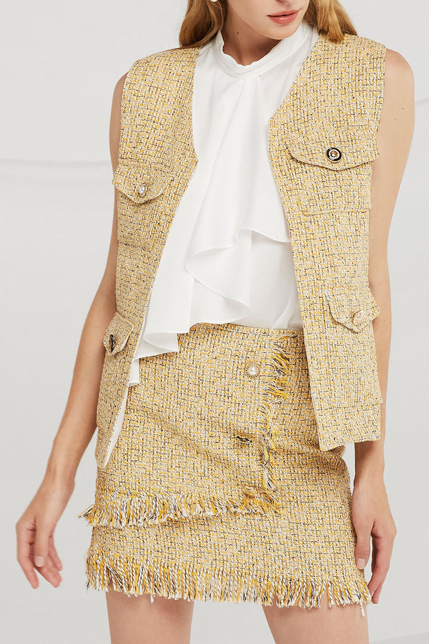 Willow Jewel Button Tweed Vest