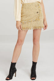 storets.com Willow Jewel Button Tweed Skirt