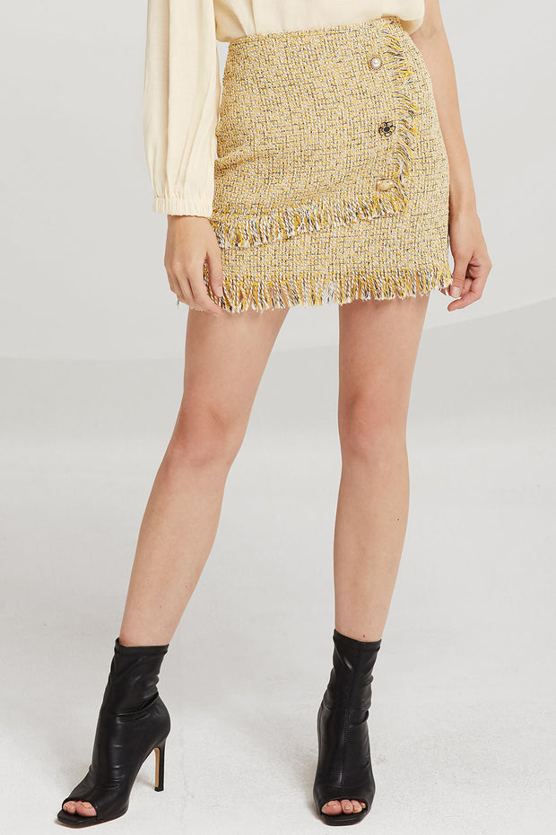 Willow Jewel Button Tweed Skirt