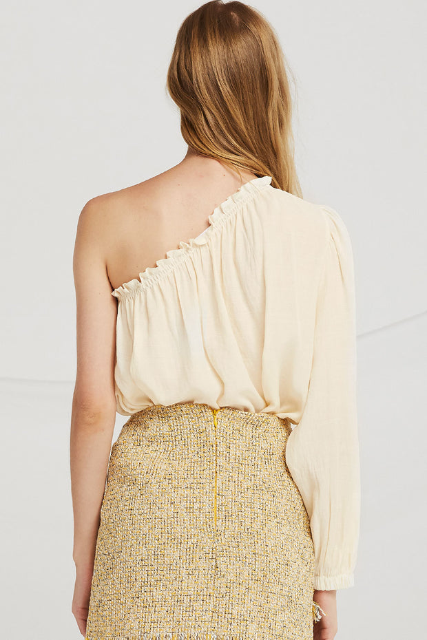 storets.com Mya Smocked One Shoulder Blouse